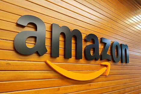 Amazonin logo kuvattuna yhtiön Intian-toimistossa Bengalurussa huhtikuussa 2018.