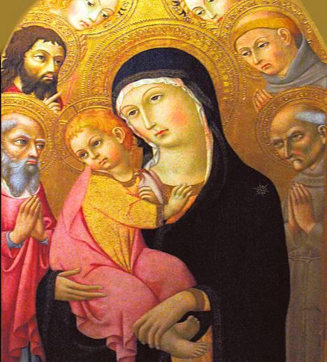 Jeesus-lapsi äitinsä Marian sylissä Sano di Pietron maalauksessa.