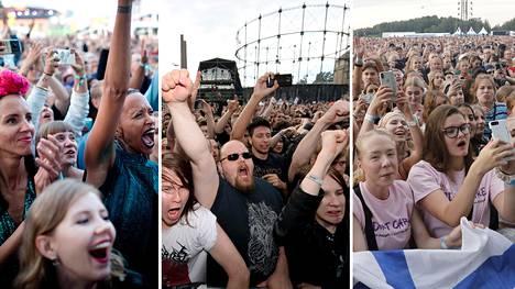 Yleisöä Suvilahdessa Flow-festivaaleilla (vas.) ja Tuska-festivaaleilla sekä Malmin lentoasemalla Ed Sheeranin keikalla.