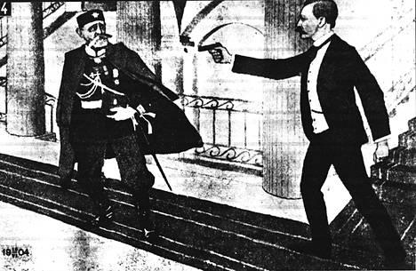 Eugen Schauman ampuu Nikolai Bobrikovia senaatin portaikossa 16. kesäkuuta 1904.