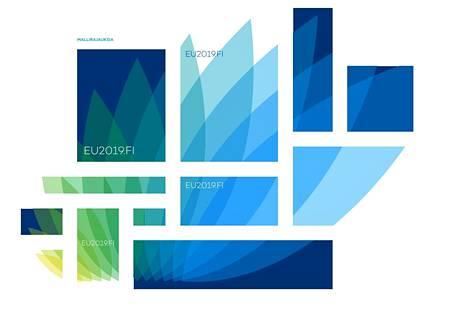 Suomen EU-puheenjohtajakauden visuaalinen ilme oli kierrätetty ja tuunattu edellisestä puheenjohtajakaudesta.