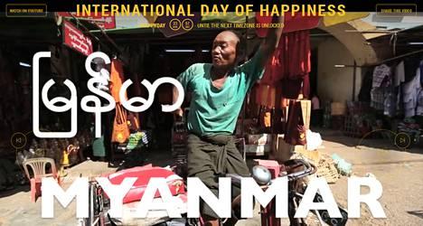 Happy-biisin tahtiin tanssitaan tänään myös Myanmarissa. Kuvankaappaus YK:n säätiön sivustolta.