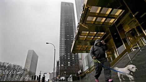 Donald Trump rakennutti Trump World Tower -pilvenpiirtäjän viistosti kadun toiselle puolelle YK:n päämajasta. YK:n päämaja näkyy kuvassa kauimpana. Välissä on yksi uudempi pilvenpiirtäjä.