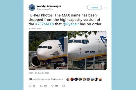 Vasemmanpuoleisessa kuvassa näkyy Boeing 737 Max -lentokone Max-tunnuksisena, oikeanpuoleisessa uudelleen maalattu kone. Kuvakaappaus Twitter-julkaisusta.