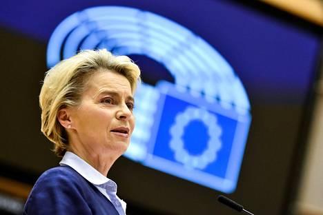 Euroopan komission puheenjohtaja Ursula von der Leyen puhui Euroopan parlamentin istunnossa Brysselissä keskiviikkona.
