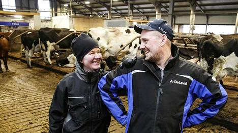 """Virtaloiden maitotilalla pelättiin EU-aikaan siirtymistä, kun HS haastatteli tilan silloista isäntää vuonna 1994. Nyt puikoissa on seuraava sukupolvi Anssi ja Saara Virtala. HE ovat vastikään investoineet uuteen navettaan ja velkaa on runsaasti. """"15 vuotta maksuaikaa on annettu korkeammalta taholta. Saisi se maidon tuottajahinta pikkuisen korkeampi olla"""", tuumii pariskunta."""
