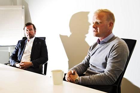 Vakuudettomia kulutusluottoja tarjoavien yhtiöiden määrä on kasvanut viime vuoden aikana, kertoivat MyLenderin toimitusjohtaja Jari Pennanen (vas.) ja luotonannosta vastaava johtaja Sasu Junttila.