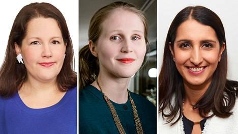Jenni Pajunen (kok), Reetta Vanhanen (vihr) ja Nasima Razmyar (sdp)