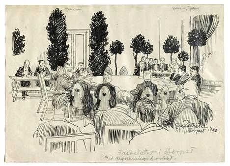 Eric Vasströmin reportaasipiirros Tarton rauhansopimuksen allekirjoitustilaisuudesta 14. lokakuuta 1920. Pöydän vasemmalla laidalla on Suomen delegaatio, keskellä valtuuskunnan puheenjohtaja J. K. Paasikivi. Oikealla Neuvosto-Venäjän neuvottelijat.
