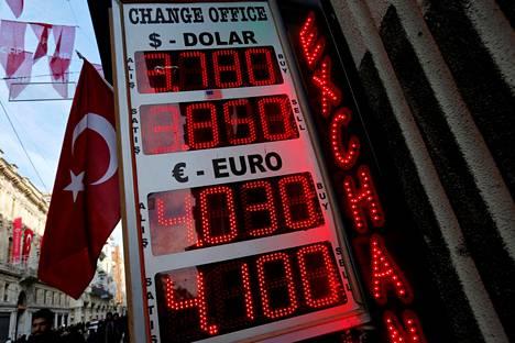 Valuutanvaihtopisteen kyltti Turkin Istanbulissa.