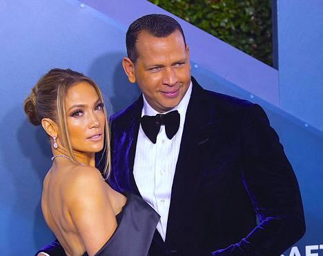 Jennifer Lopez ja Alex Rodriguez kuvattuna 19. tammikuuta 2020.