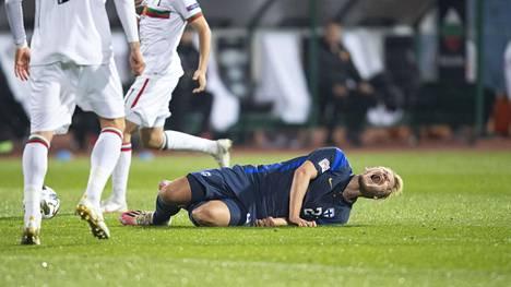 Joel Pohjanpalo loukkantui Bulgaria-ottelun avauspuoliajalla Sofiassa sunnuntaina.