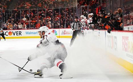 Washington Capitalsin Aleksandr Ovetškin ottelussa Philadelphia Flyersia vastaan Philadelphiassa keskiviikkona.