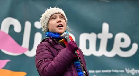 Greta Thunberg puhui maaliskuun alussa Brysselissä pidetyssä ilmastomielenosoituksessa.