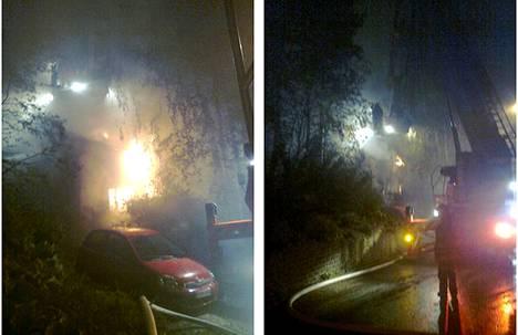 Pelastuslaitos sai hälytyksen rakennuspalosta Helsingin Kontulassa aamukolmelta keskiviikkona. Kuva on lukijan ottama.