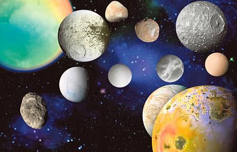 Kuut eivät ole mittakaavassa. Kuiden läpimitat vaihtelevat kymmenistä kilometreistä tuhansiin kilometreihin.