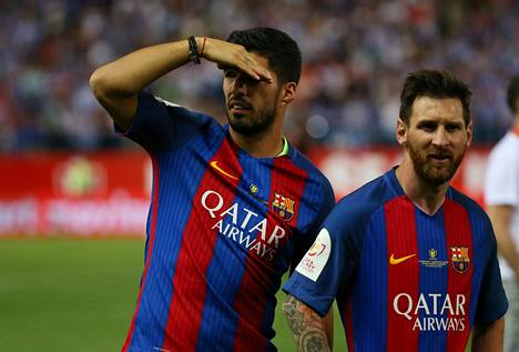 Luis Suárez ja Lionel Messi ovat Barcelonan suurimpia tähtiä.