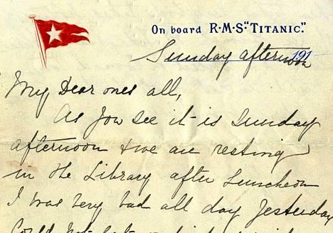 Lauantaina huutokaupattu kirje on tiettävästi ainoa Titanicilla kirjoitettu kirje.