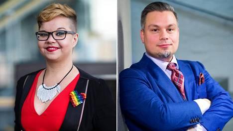 Kirjailijat Salla Simukka ja Tommi Kinnunen.