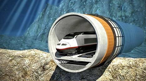 Tunnelin rakenne Finest Bay Arean havainnekuvissa.
