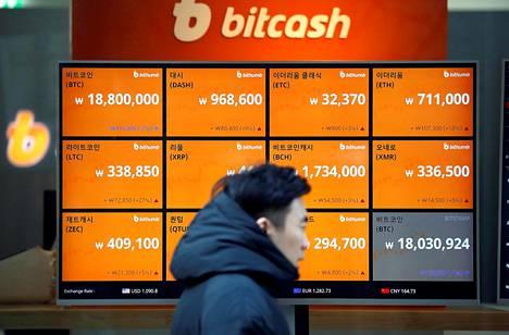 Etelä-Koreassa bitcoin on ollut niin suosittu, että sen hinta on ollut useita tuhansia dollareita muita markkinoita korkeampi. Kryptovaluuttojen hintoja kauppapaikan ikkunassa Soulissa joulukuussa.