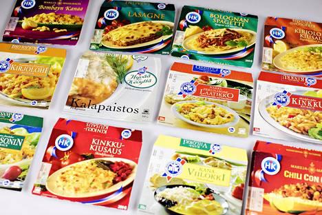 Valmisruokapakkauksia vuosilta 1996–1997. Vuosituhannen lopulla valmisruokavalikoima monipuolistui ja kansainvälistyi.