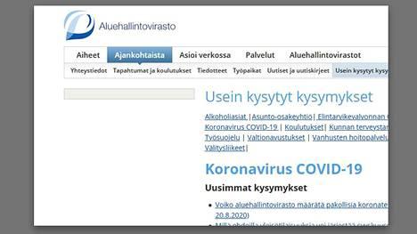 Näkymä aluehallintoviraston internetsivulta.