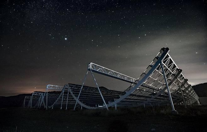 Kanadalainen Chime-observatorio koostuu kaarevista antenneista, jotka tuovat mieleen lumilautailijoiden laskettelukourut.