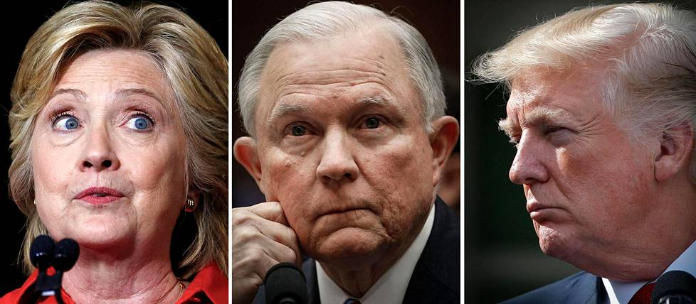 Hillary Clinton, Jeff Sessions ja Donald Trump.