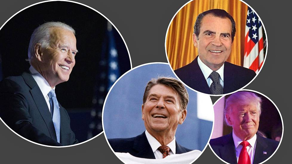 Yhdysvaltain presidentit Joe Biden (vas.) Ronald Reagan, Richard Nixon ja Donald Trump.