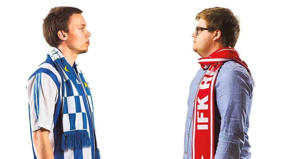 Tuomas Borg (vas.) on HJK:n kannatusyhdistyksen Forzan puheenjohtaja. Edward Hultin on kannattanut HIFK:n jalkapallojoukkuetta lapsesta asti.
