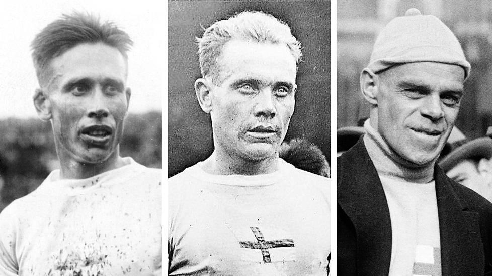 Ville Ritola ja Paavo Nurmi vuonna 1924 Pariisin olympialaisissa ja Clas Thunberg New Yorkissa vuonna 1926.