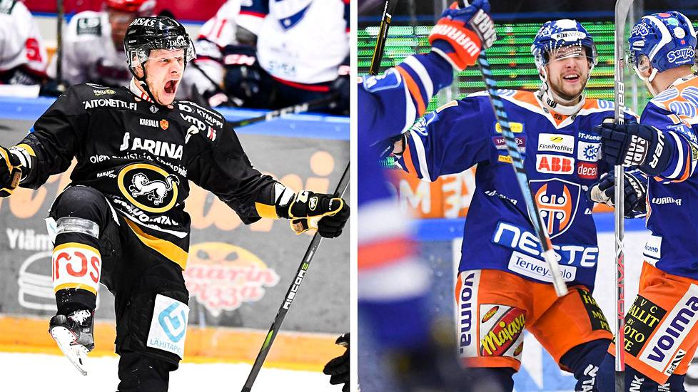 Kärppien kapteeni Lasse Kukkonen (vas.) viittaa kintaalla välierärasitukselle. Tapparan kapteeni Jukka Peltola pelaa Liigan loppuotteluissa kuudetta kertaa.