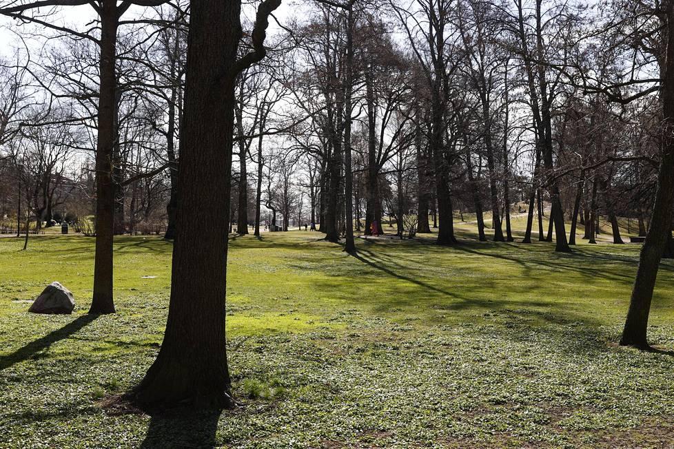 Vappua vietettiin selvästi totuttua hiljaisemmin Helsingin Kaivopuistossa.