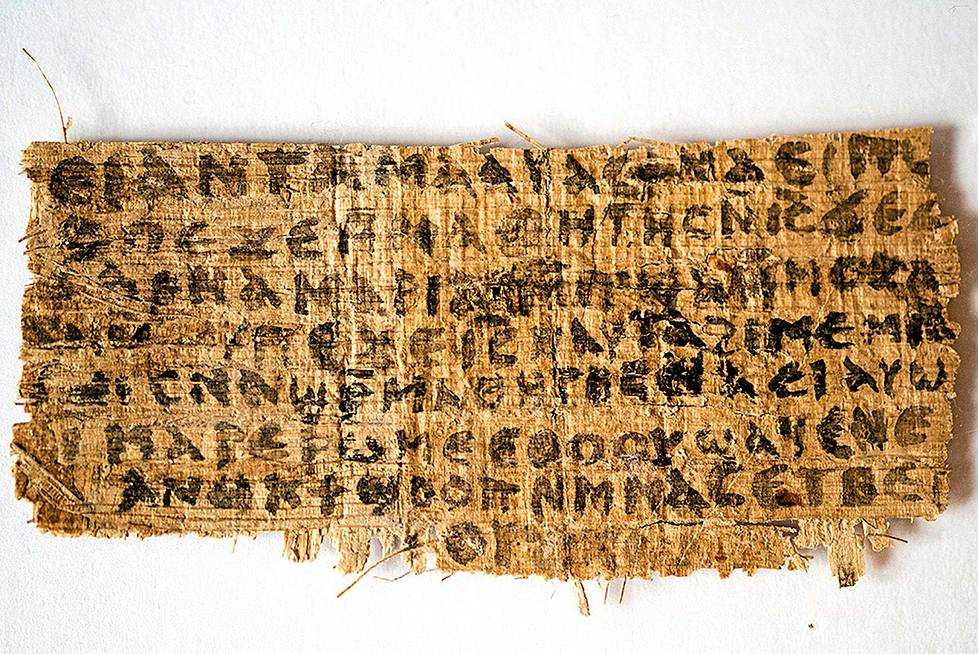 "This handout image provided September 19, 2012 by Karen L. King, Hollis Professor of Divinity at the Harvard Divinity School in Cambridge, Massachusetts, shows the front side of a fourth-century papyrus fragment. The four words that appear on the fragment translate to ""Jesus said to them, my wife.ö The words, written in Coptic, a language of Egyptian Christians, are on a papyrus fragment of about one and a half inches by three inches(by 3.8 cm by 7.6 cm.). = RESTRICTED TO EDITORIAL USE - MANDATORY CREDIT "" AFP PHOTO / Harvard Divinity School / Karen L. King "" - NO MARKETING NO ADVERTISING CAMPAIGNS - DISTRIBUTED AS A SERVICE TO CLIENTS ="