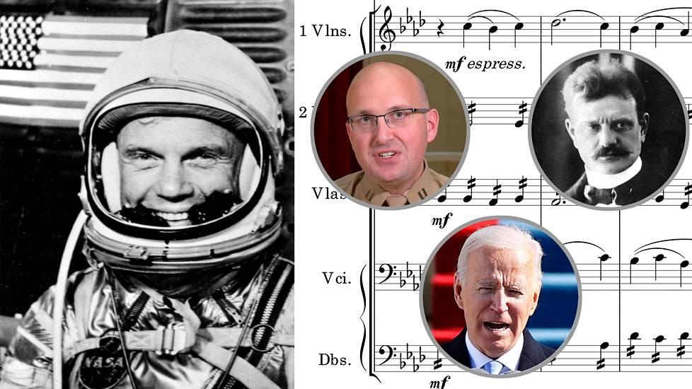 Astronautti John Glenn vuonna 1962 ennen lähtöä ensimmäisenä yhdysvaltalaisena kiertämään planeetan maan kiertoradalla. Pikkukuvissa säveltäjä Ryan Nowlin, Jean Sibelius sekä presidentti Joe Biden, joka sai kuulla virkaanastujaisissaan Finlandiaa lainaavan Nowlinin sävellyksen John Glennin kunniaksi. Tausta oikealla: ote Finlandian partituurista.