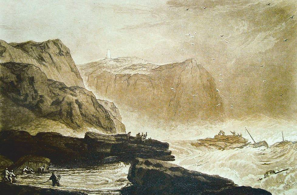 J. M. W. Turner: Coast of Yorkshire, Near Whitby, 1811, viivasyövytys ja mezzotinto.