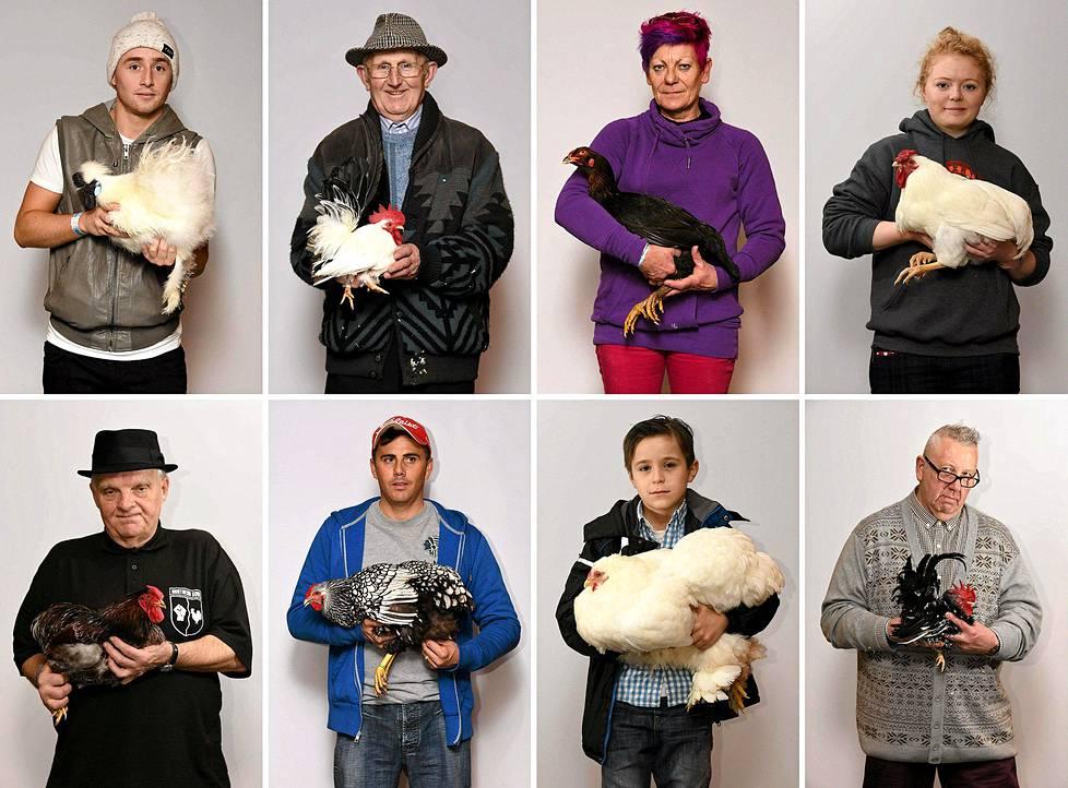 Kanankasvattajat esittelivät ylpeinä eläimiään kansallisessa siipikarjatapahtumassa Telfordissa Britanniassa sunnuntaina.