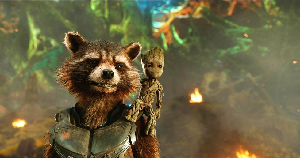 Rocket (Bradley Cooper) ja Groot (Vin Diesel) elokuvassa Guardians of the Galaxy Vol. 2.