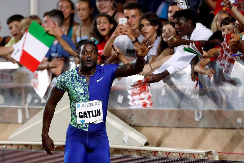 Justin Gatlin voitti heinäkuussa 100 metriä Timanttiliigan kisassa Monacossa ajalla 9,91.