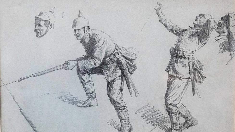 Lyijykynäluonnoksia saksalaisista sotilaista vuodelta 1917 eli ensimmäisen maailmansodan ajalta. L. Pohjanheimon asekokoelmasäätiö.