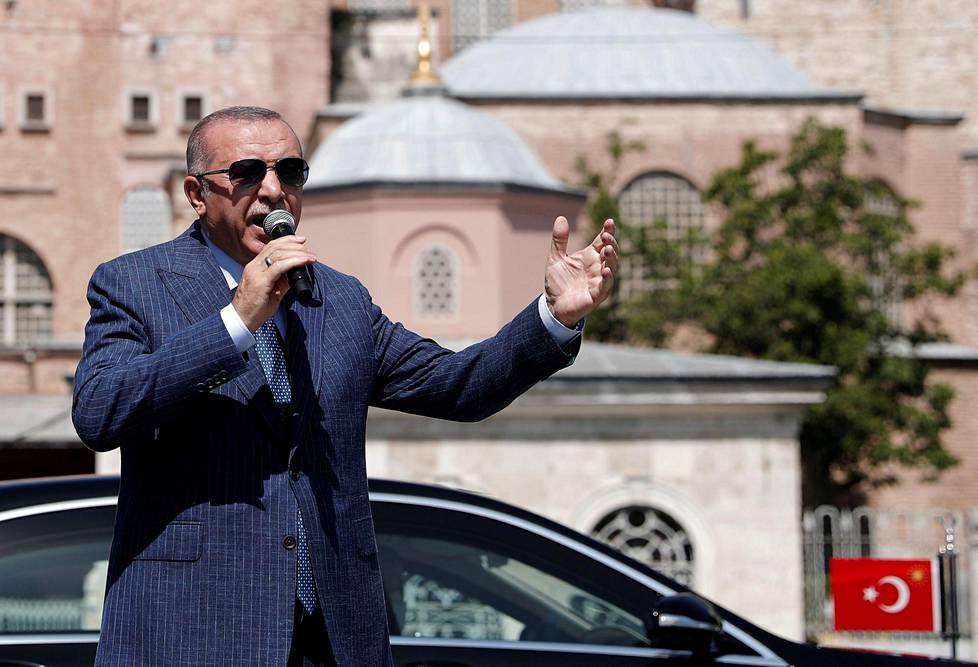 Turkish President Recep Tayyip Erdoğan spoke to the media in August in front of Hagia Sophia after converting the museum into a mosque again.
