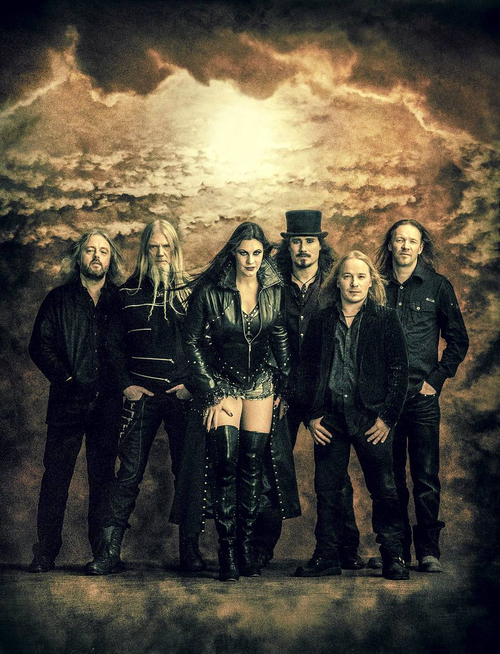 The current line-up of Nightwish: Troy Donockley, Marco Hietala, Floor Jansen, Tuomas Holopainen, Emppu Vuorinen and Kai Hahto.