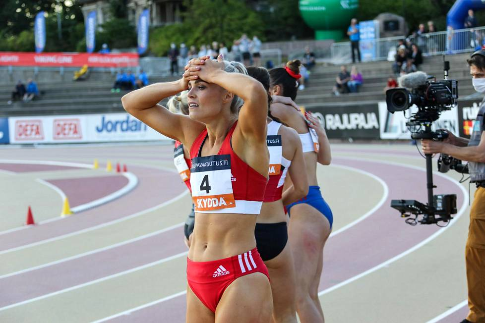 Lotta Harala placed fourth in the 100-meter real last summer at the Kaleva Games in Turku.