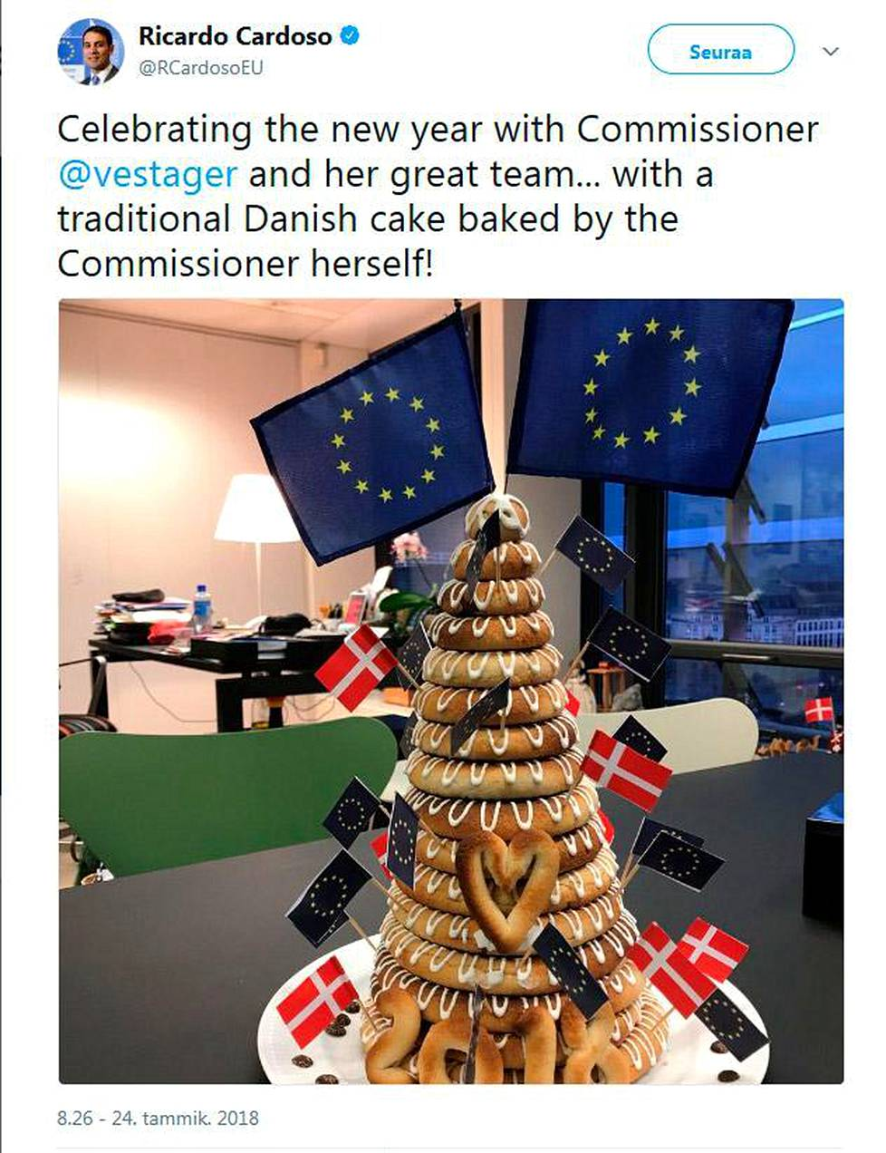 Vestager's spokesperson Ricardo Cardoso tweeted about kransekage ring cake that the commissioner had brought to her staff on January 24.