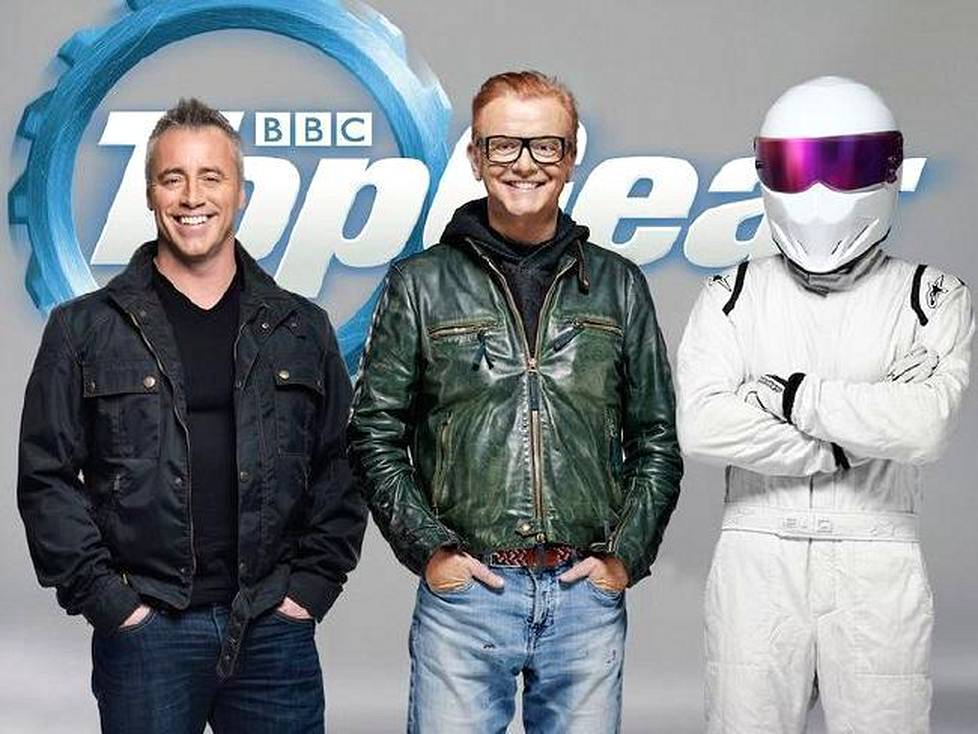 Uuden Top Gearin avainhahmot ovat Matt LeBlanc, Chris Evans ja The Stig.