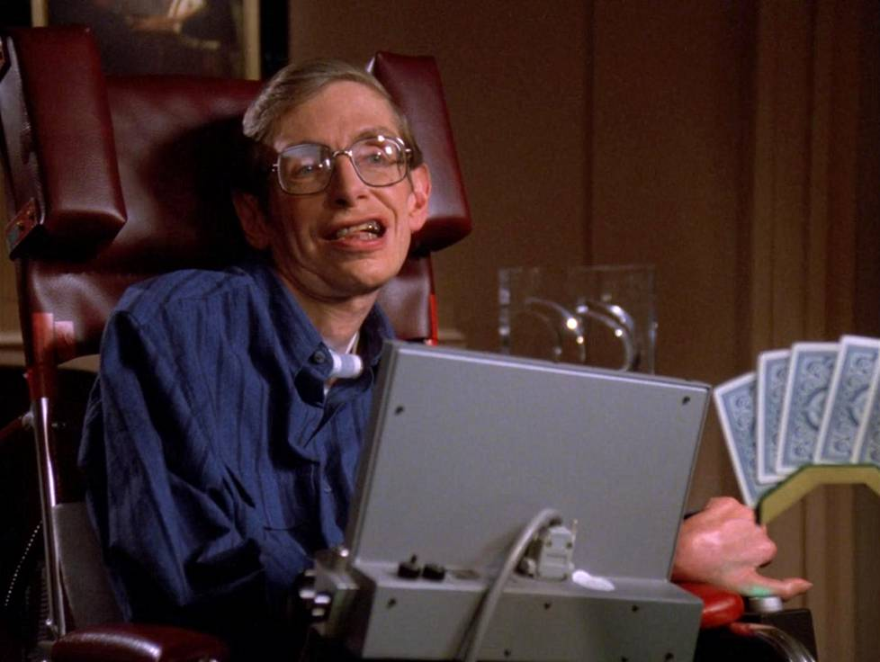 Stephen Hawking pelaamassa pokeria Star Trek: The Next Generationissa.