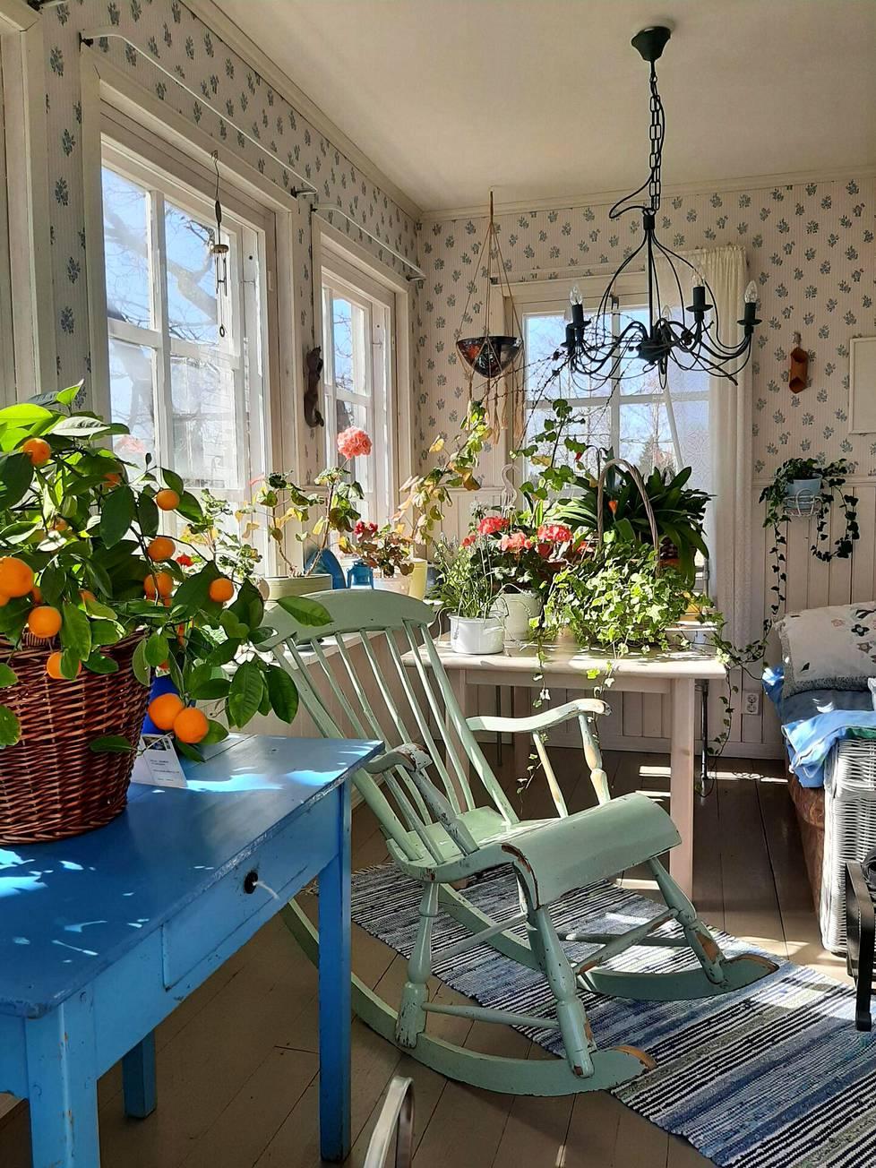 """""""Kevätaurinko paistaa ja lämmittää. Kukat viihtyvät ja aloittavat kukinnan aikaisin. Luen, neulon, juon kahvit ja nukun usein päivänokoset verannalla. Lemmikkini kissat Pirpana ja Sumu sekä Emppu-koira ovat seuranani."""""""