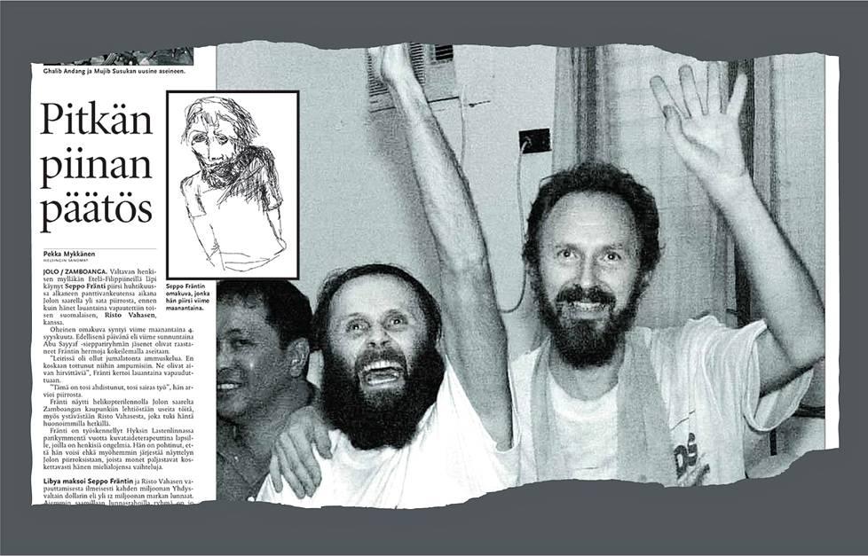 HS kertoi 10. syyskuuta 2000 päivää aiemmin vapauteen päässeistä panttivangeista Seppo Fräntistä ja Risto Vahasesta. Jutun kuvituksessa oli Fräntin panttivankiaikana piirtämä omakuva.