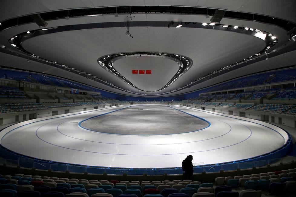 Pekingin talvikisojen pikaluisteluhallia esiteltiin viime viikolla.
